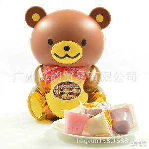 6瓶一组 批发供应休闲零食台湾盛香珍棕色小熊果冻布丁桶580克