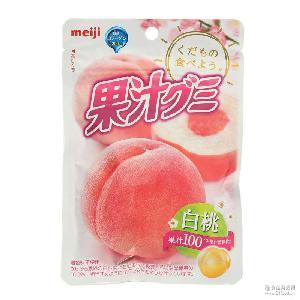 明治水果软糖 日本跨境零食 浓缩 果汁白桃软糖/QQ糖橡皮糖47g