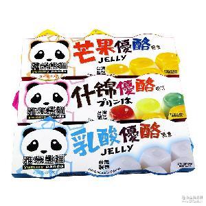 雅米熊貓多口味優酪果味型果凍 臺灣進口休閑食品批發330g