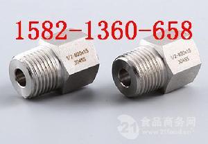 304不锈钢六角内外丝压力仪表气源转换接头ZG1/4-M20*1.5